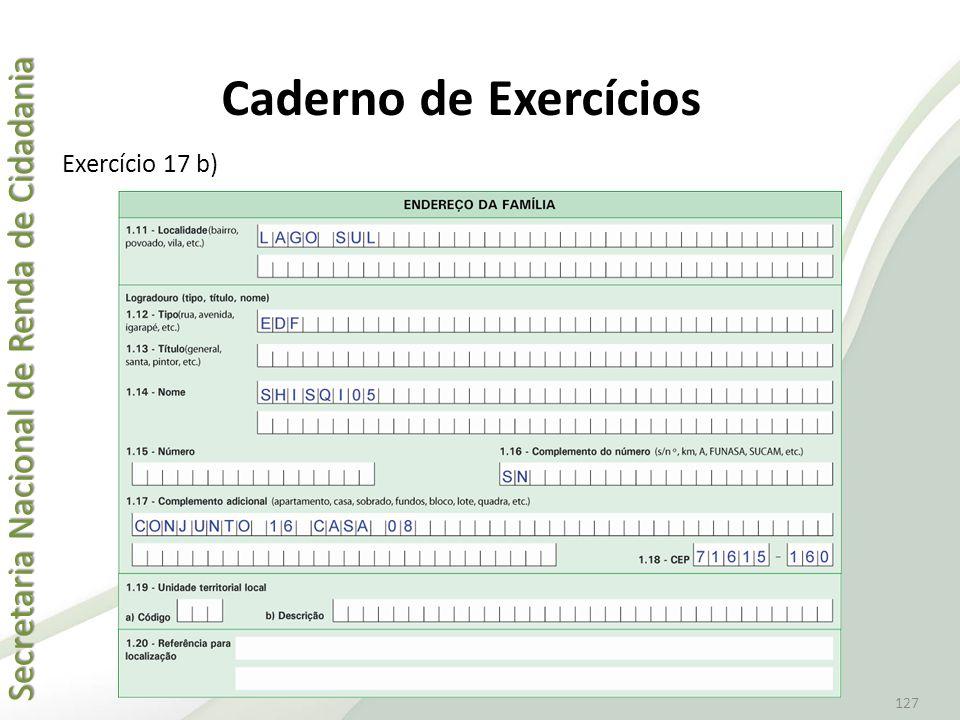 Caderno de Exercícios Exercício 17 b)