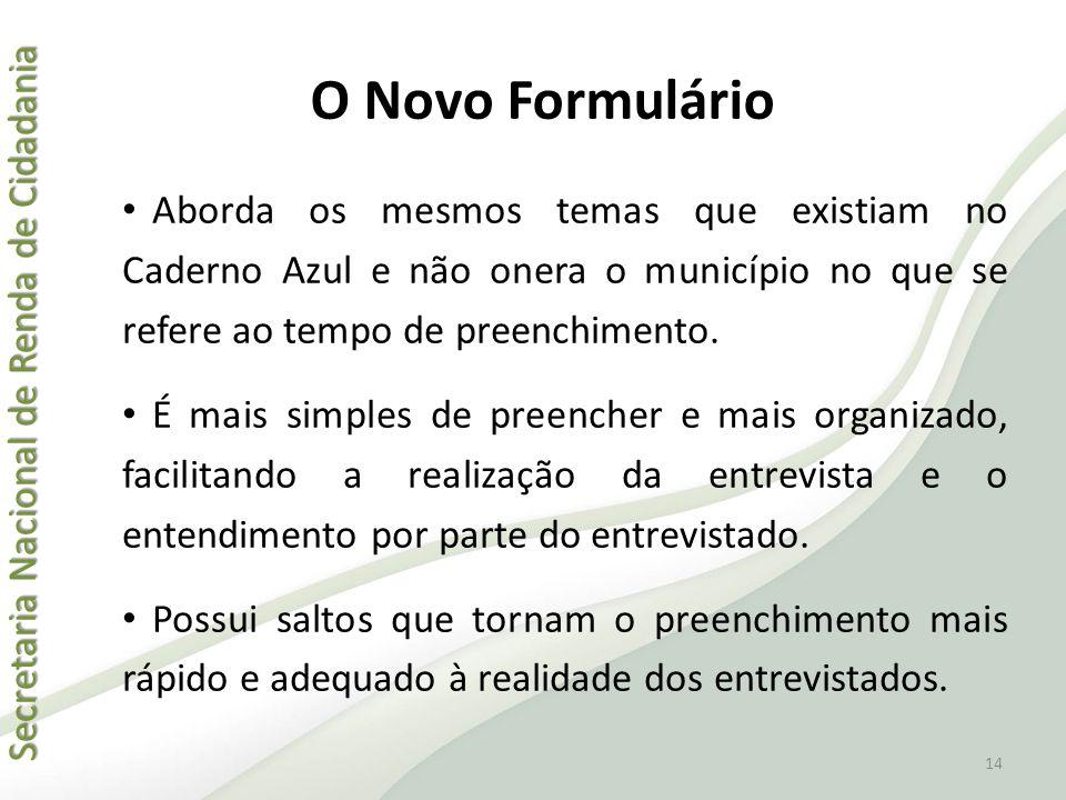 O Novo Formulário Aborda os mesmos temas que existiam no Caderno Azul e não onera o município no que se refere ao tempo de preenchimento.