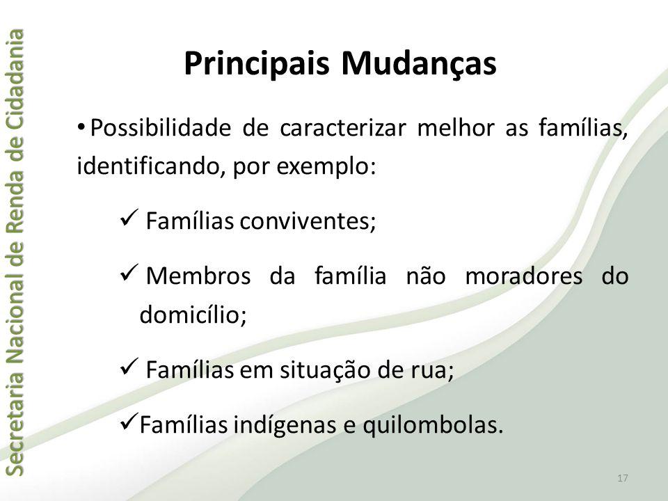 Principais Mudanças Possibilidade de caracterizar melhor as famílias, identificando, por exemplo: Famílias conviventes;