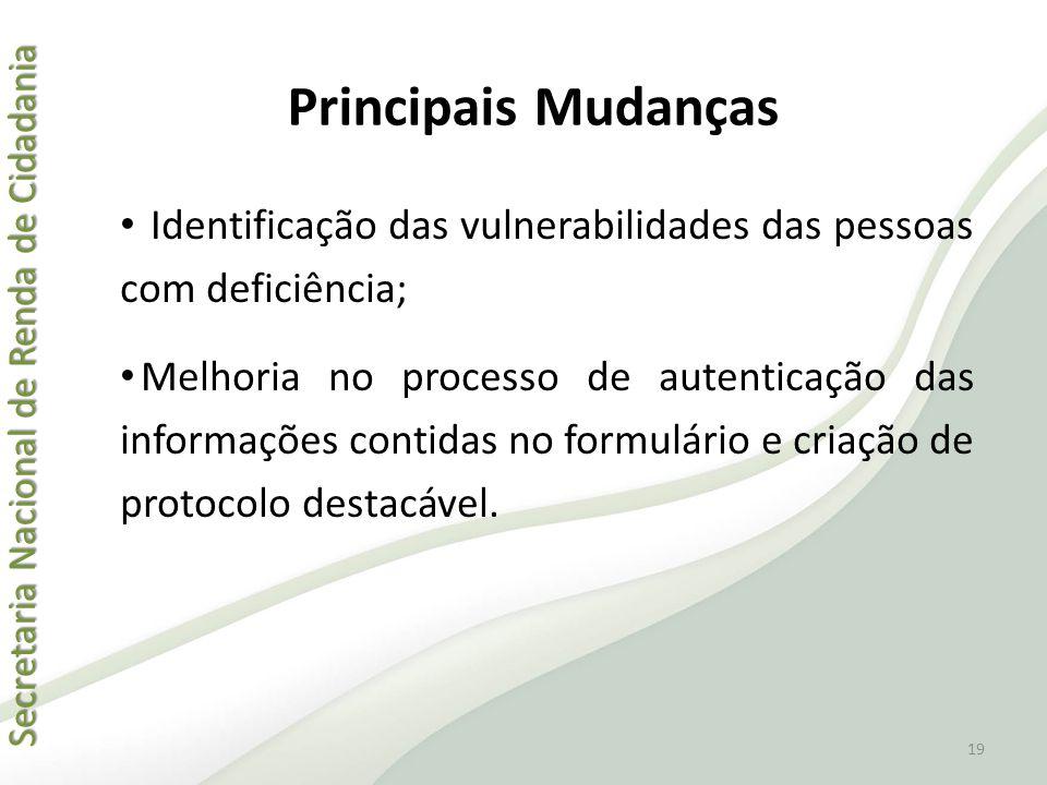 Principais Mudanças Identificação das vulnerabilidades das pessoas com deficiência;
