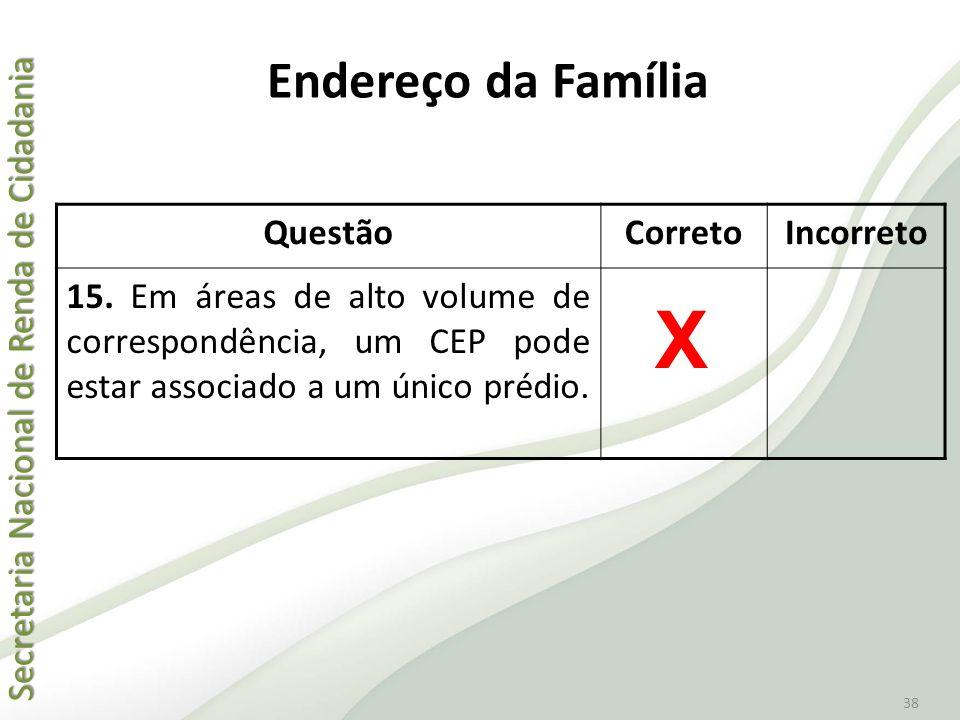 X Endereço da Família Questão Correto Incorreto