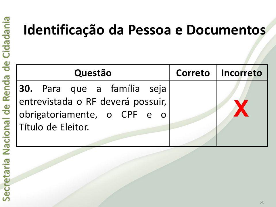 Identificação da Pessoa e Documentos