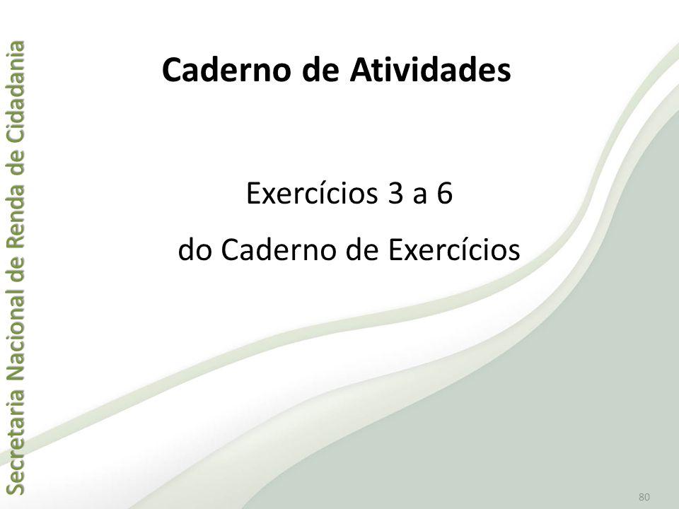 Exercícios 3 a 6 do Caderno de Exercícios