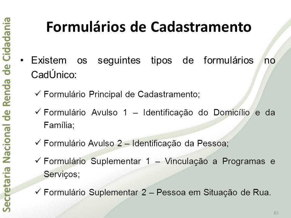 Formulários de Cadastramento