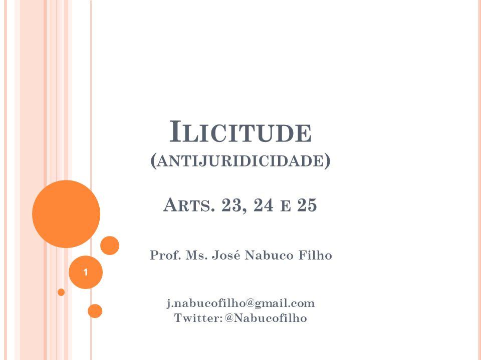 Ilicitude (antijuridicidade) Arts. 23, 24 e 25