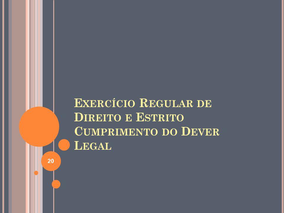 Exercício Regular de Direito e Estrito Cumprimento do Dever Legal