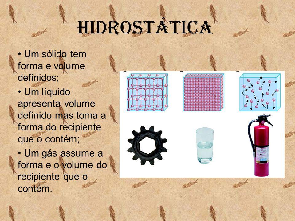 Hidrostática Um sólido tem forma e volume definidos;