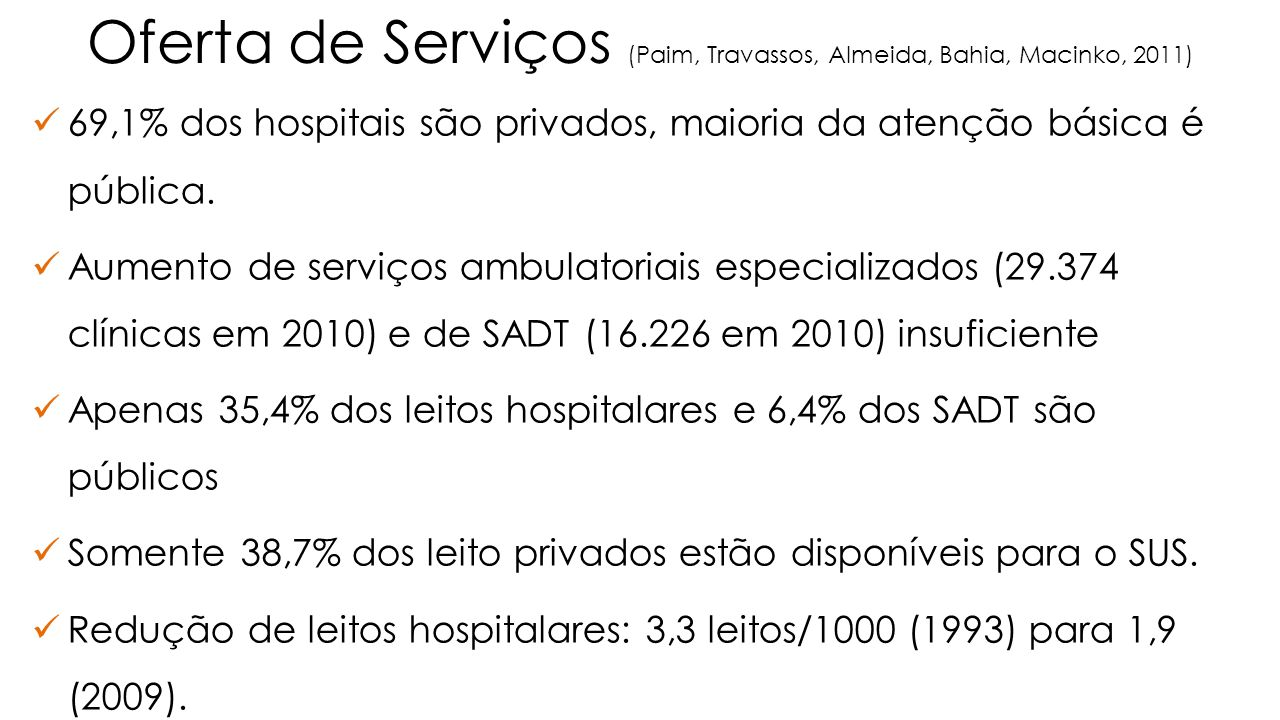 Oferta de Serviços (Paim, Travassos, Almeida, Bahia, Macinko, 2011)