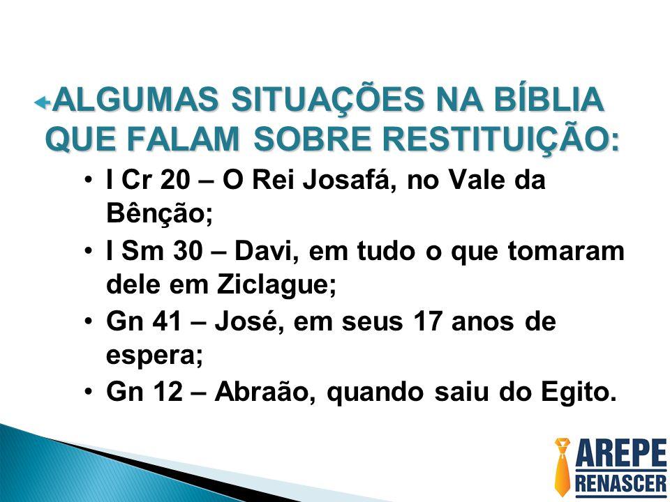 ALGUMAS SITUAÇÕES NA BÍBLIA QUE FALAM SOBRE RESTITUIÇÃO: