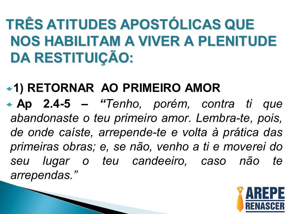 TRÊS ATITUDES APOSTÓLICAS QUE NOS HABILITAM A VIVER A PLENITUDE DA RESTITUIÇÃO:
