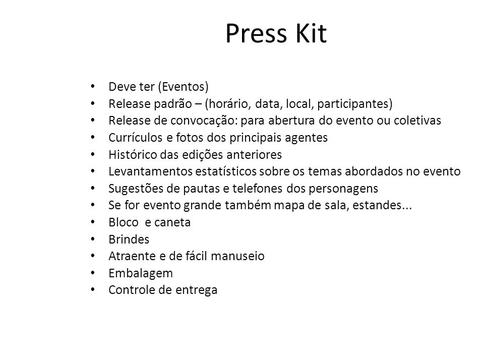 Press Kit Deve ter (Eventos)