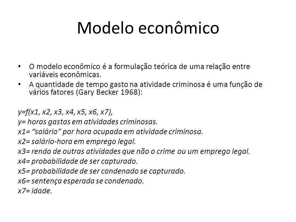 Modelo econômico O modelo econômico é a formulação teórica de uma relação entre variáveis econômicas.