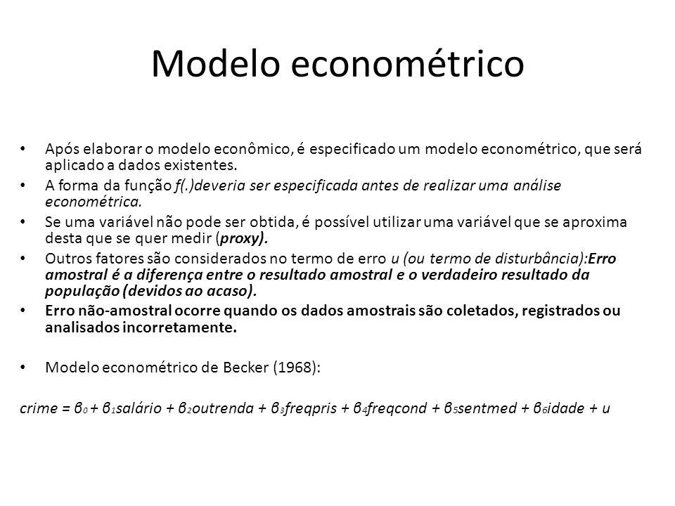 Modelo econométrico Após elaborar o modelo econômico, é especificado um modelo econométrico, que será aplicado a dados existentes.