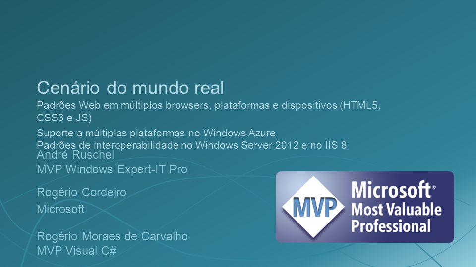 Cenário do mundo real Padrões Web em múltiplos browsers, plataformas e dispositivos (HTML5, CSS3 e JS)