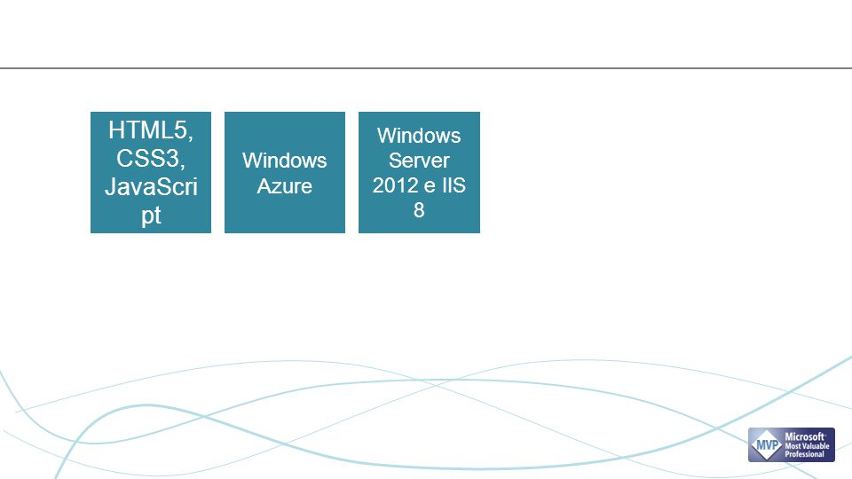 HTML5, CSS3, JavaScript Windows Azure Windows Server 2012 e IIS 8