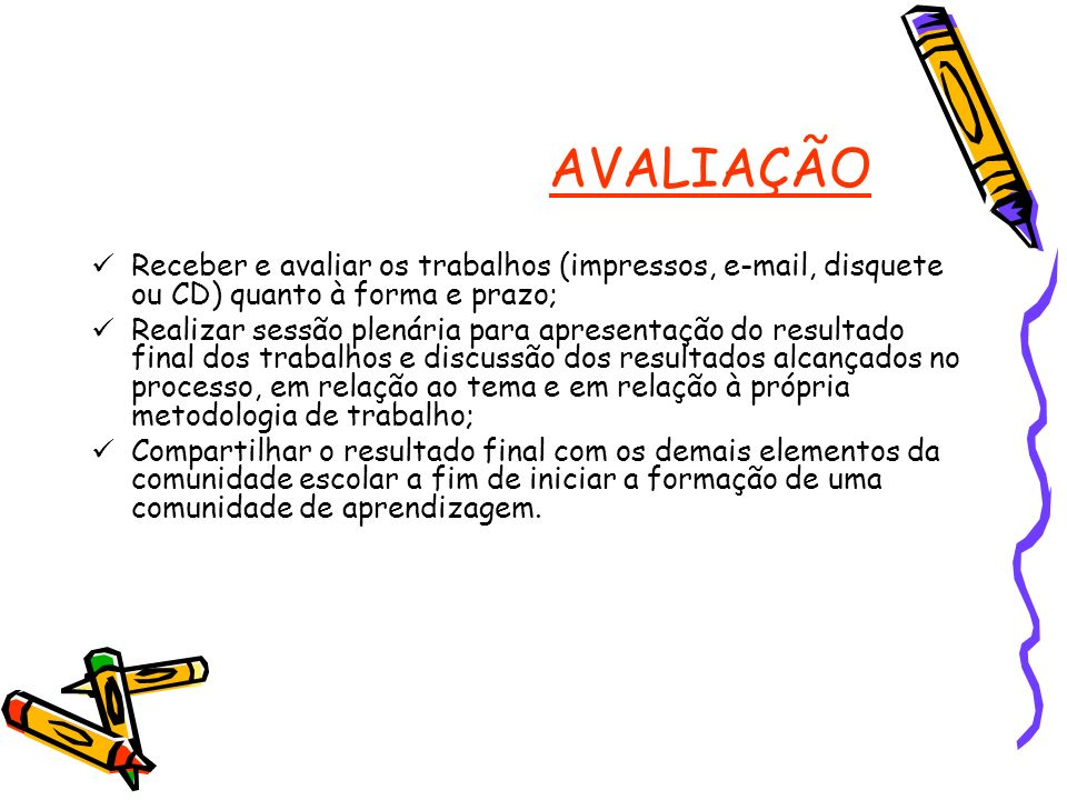 AVALIAÇÃOReceber e avaliar os trabalhos (impressos, e-mail, disquete ou CD) quanto à forma e prazo;