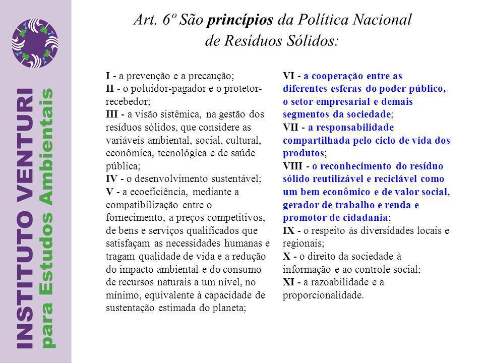 Art. 6º São princípios da Política Nacional