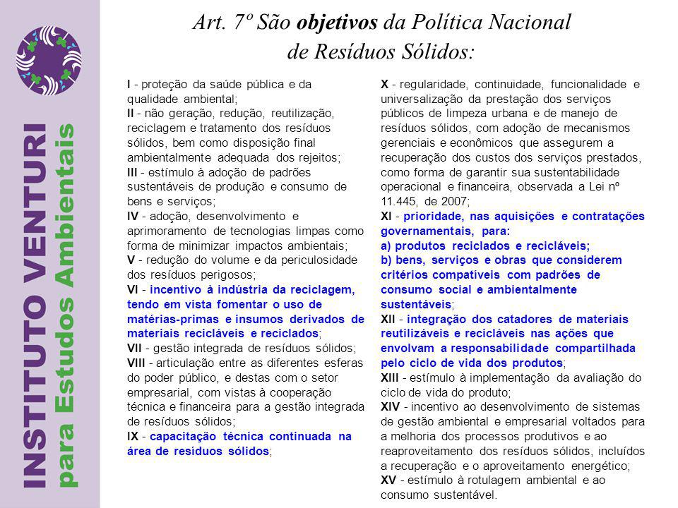 Art. 7º São objetivos da Política Nacional