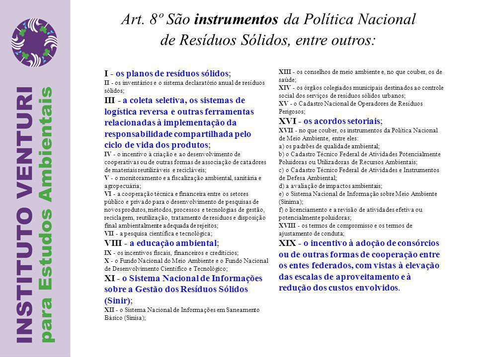 Art. 8º São instrumentos da Política Nacional
