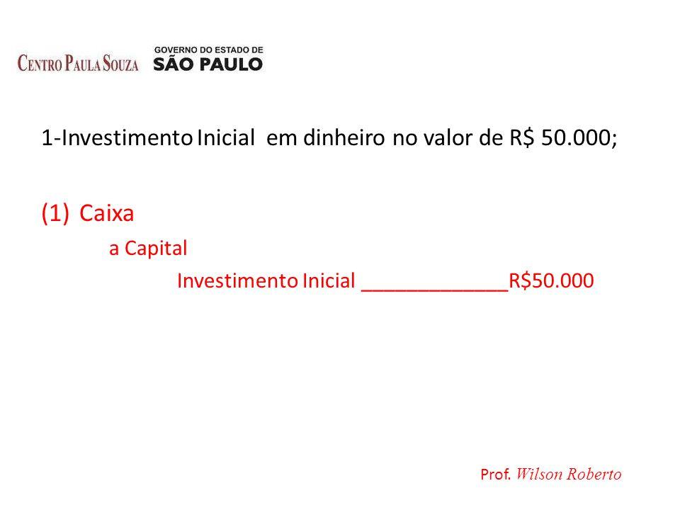 Caixa 1-Investimento Inicial em dinheiro no valor de R$ 50.000;
