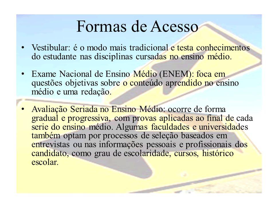Formas de Acesso Vestibular: é o modo mais tradicional e testa conhecimentos do estudante nas disciplinas cursadas no ensino médio.