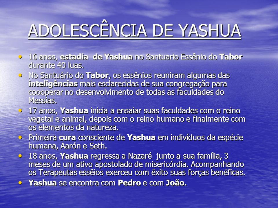 ADOLESCÊNCIA DE YASHUA