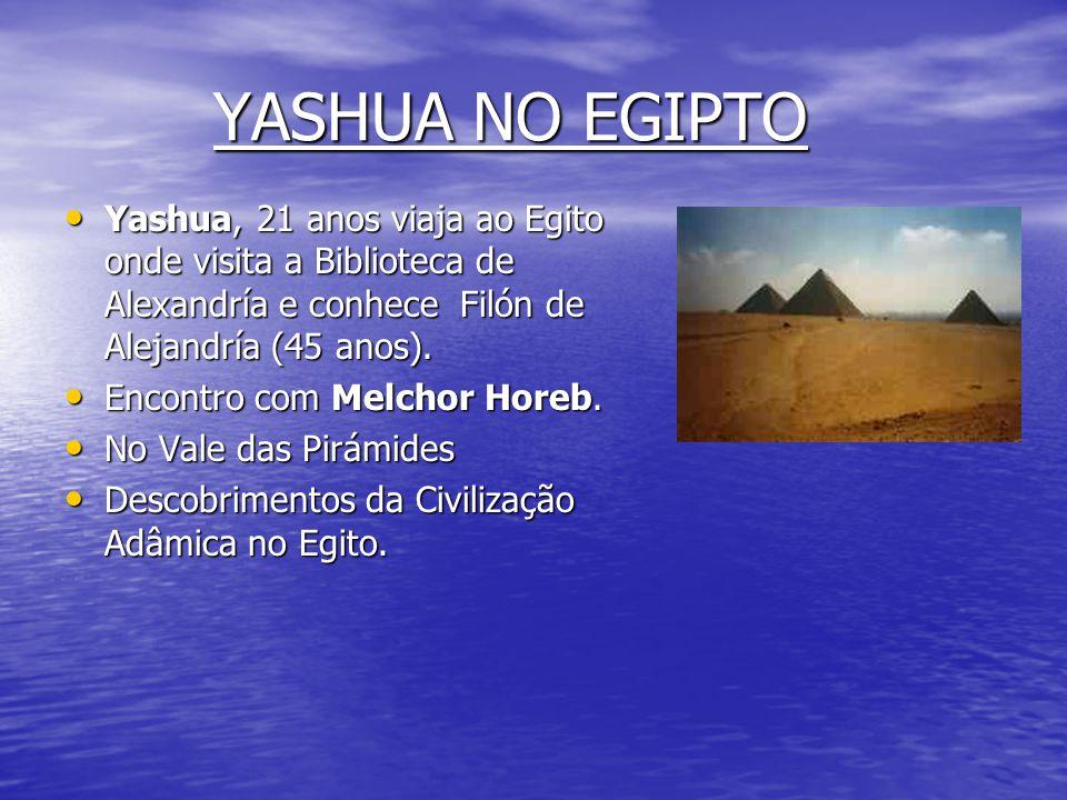 YASHUA NO EGIPTO Yashua, 21 anos viaja ao Egito onde visita a Biblioteca de Alexandría e conhece Filón de Alejandría (45 anos).