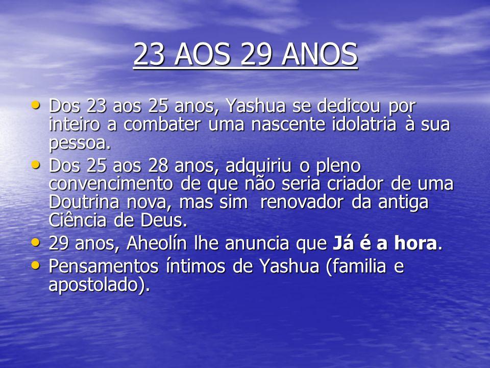 23 AOS 29 ANOS Dos 23 aos 25 anos, Yashua se dedicou por inteiro a combater uma nascente idolatria à sua pessoa.