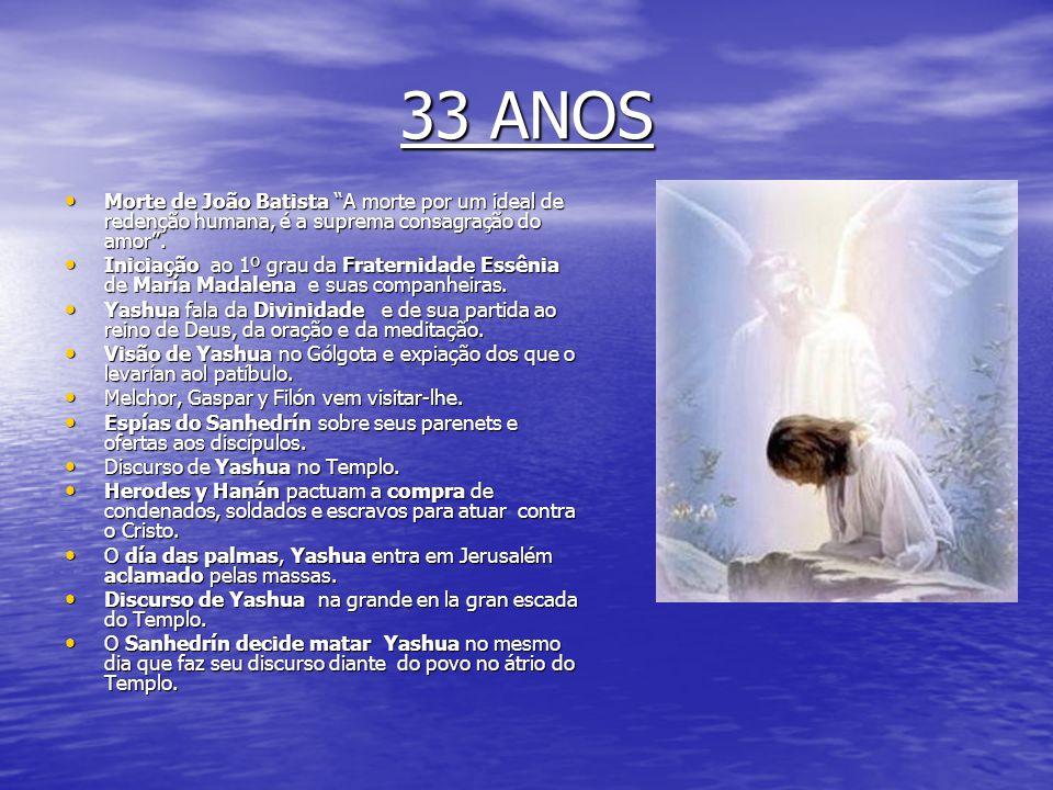 33 ANOS Morte de João Batista A morte por um ideal de redenção humana, é a suprema consagração do amor .