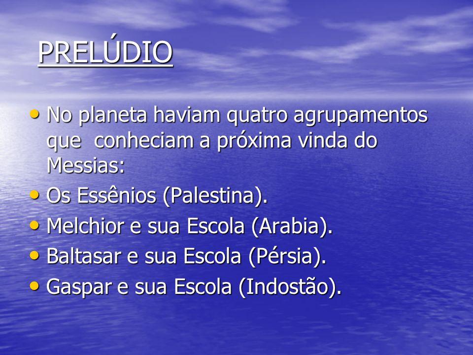 PRELÚDIO No planeta haviam quatro agrupamentos que conheciam a próxima vinda do Messias: Os Essênios (Palestina).