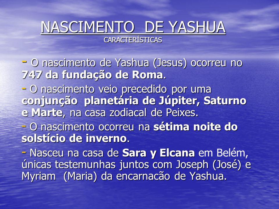 NASCIMENTO DE YASHUA CARACTERÍSTICAS