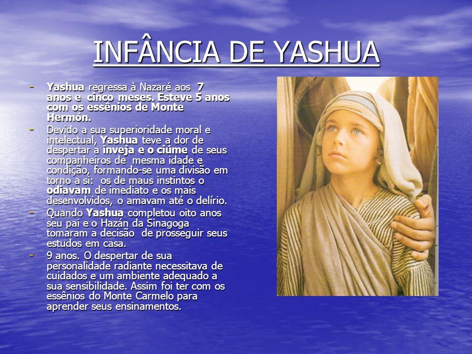 INFÂNCIA DE YASHUA Yashua regressa à Nazaré aos 7 anos e cinco meses. Esteve 5 anos com os essênios de Monte Hermón.