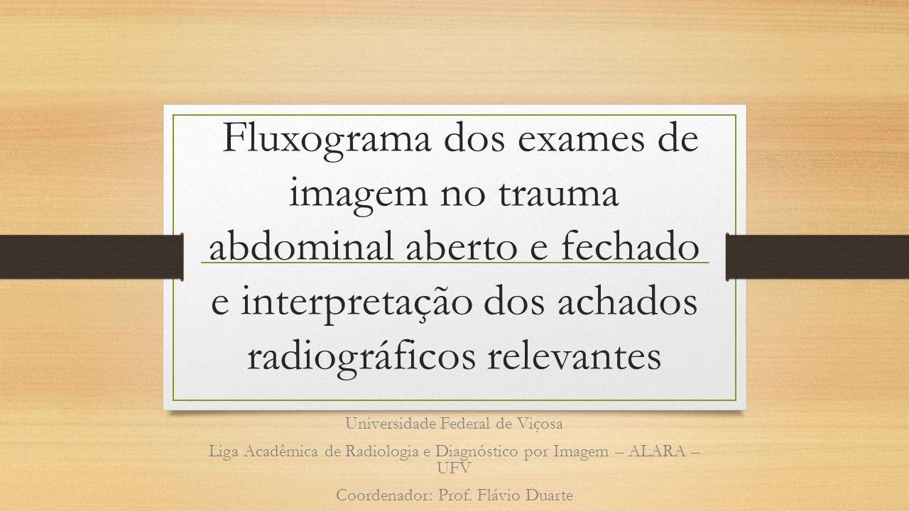 Fluxograma dos exames de imagem no trauma abdominal aberto e fechado e interpretação dos achados radiográficos relevantes