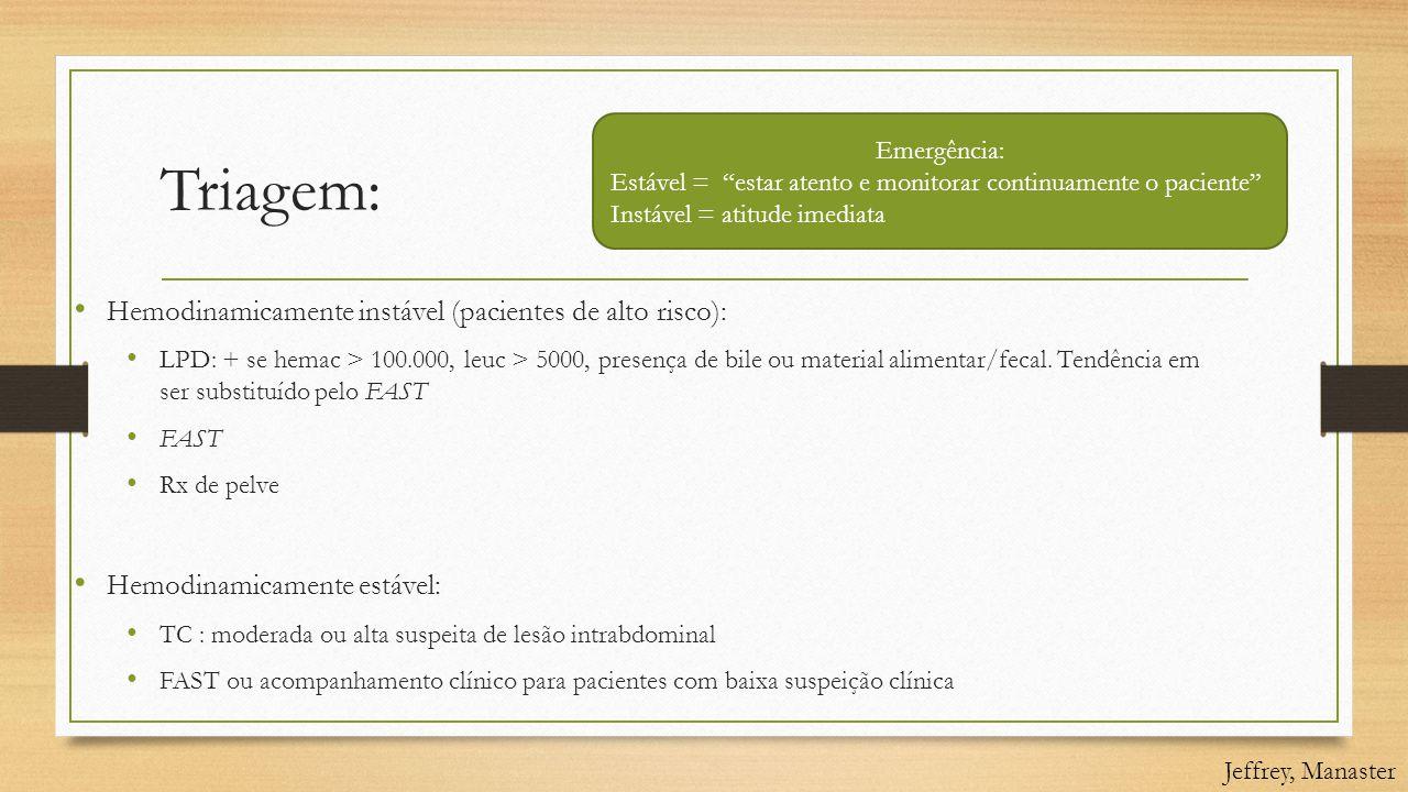 Triagem: Hemodinamicamente instável (pacientes de alto risco):