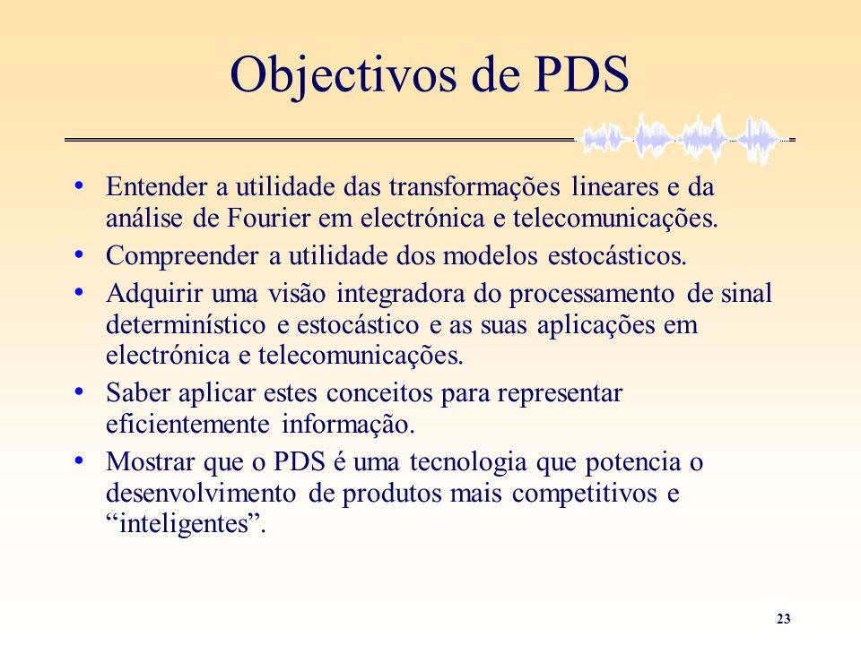 Objectivos de PDS Entender a utilidade das transformações lineares e da análise de Fourier em electrónica e telecomunicações.