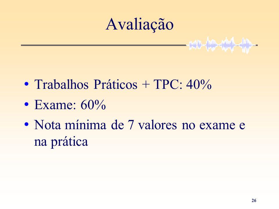 Avaliação Trabalhos Práticos + TPC: 40% Exame: 60%