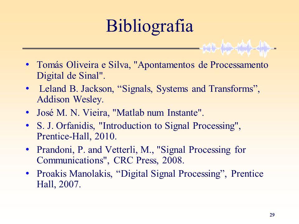 Bibliografia Tomás Oliveira e Silva, Apontamentos de Processamento Digital de Sinal .