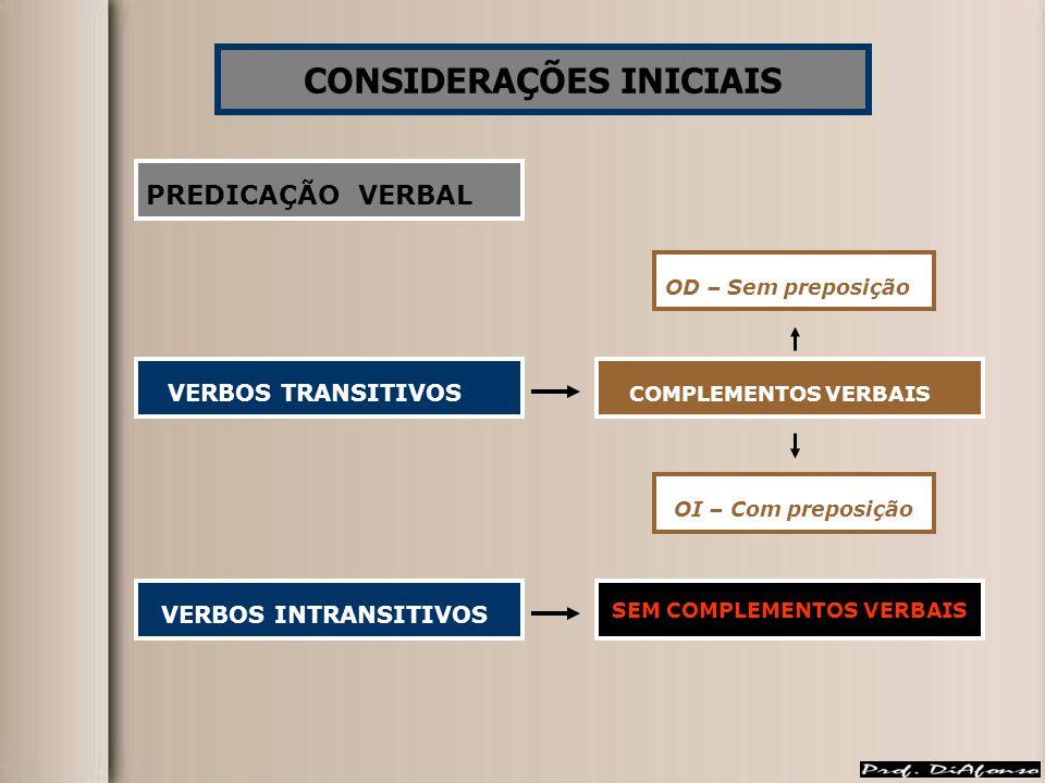 CONSIDERAÇÕES INICIAIS SEM COMPLEMENTOS VERBAIS