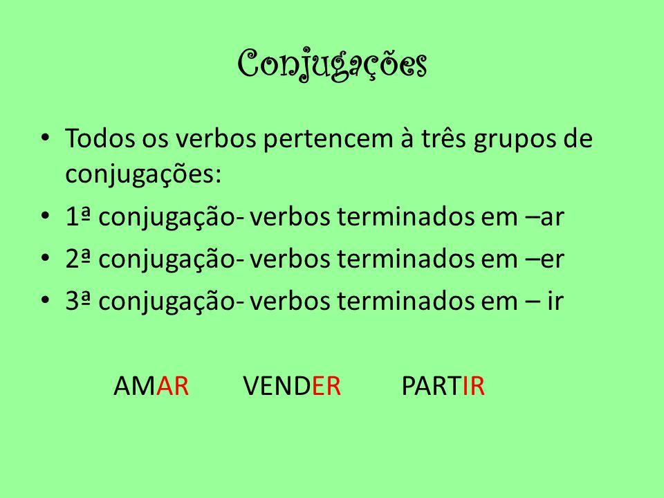 Conjugações Todos os verbos pertencem à três grupos de conjugações: