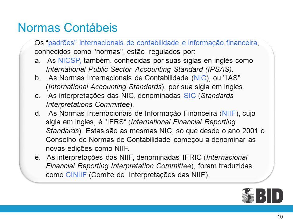 Normas Contábeis Os padrões internacionais de contabilidade e informação financeira, conhecidos como normas , estão regulados por: