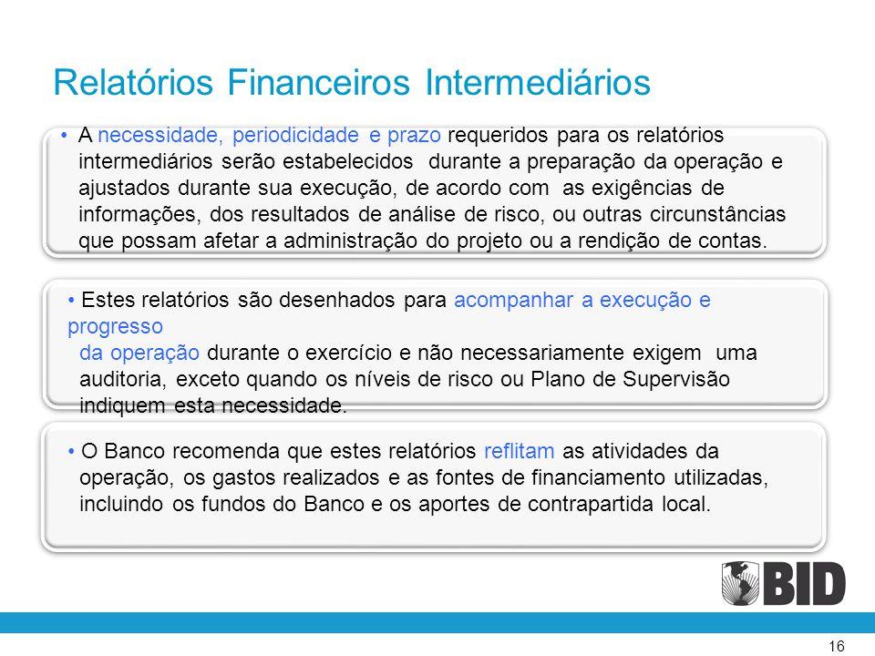 Relatórios Financeiros Intermediários