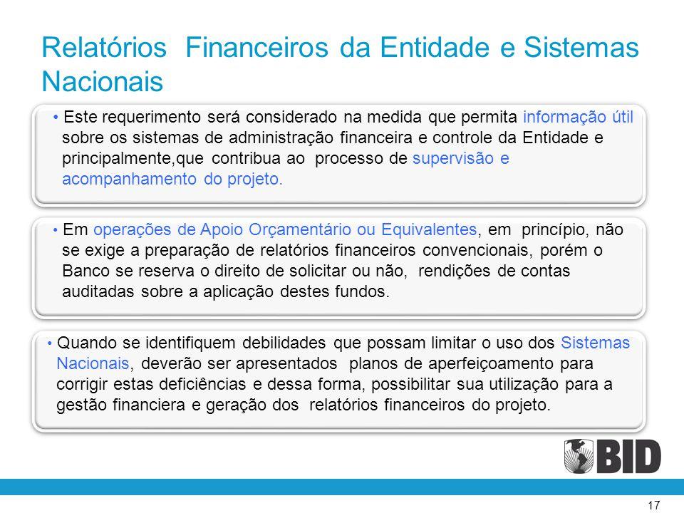 Relatórios Financeiros da Entidade e Sistemas Nacionais
