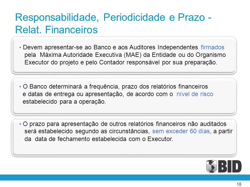 Responsabilidade, Periodicidade e Prazo - Relat. Financeiros