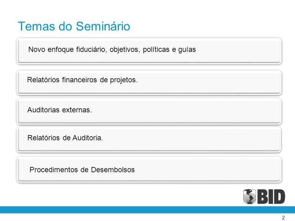 Temas do Seminário Novo enfoque fiduciário, objetivos, políticas e guías. Relatórios financeiros de projetos.