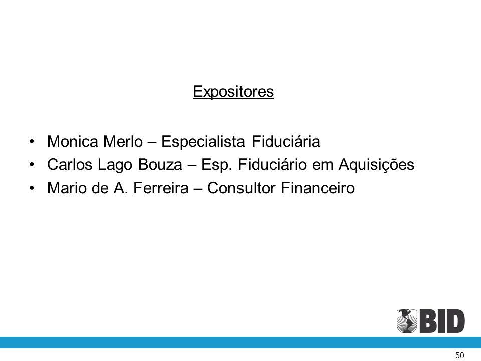 Expositores Monica Merlo – Especialista Fiduciária. Carlos Lago Bouza – Esp. Fiduciário em Aquisições.