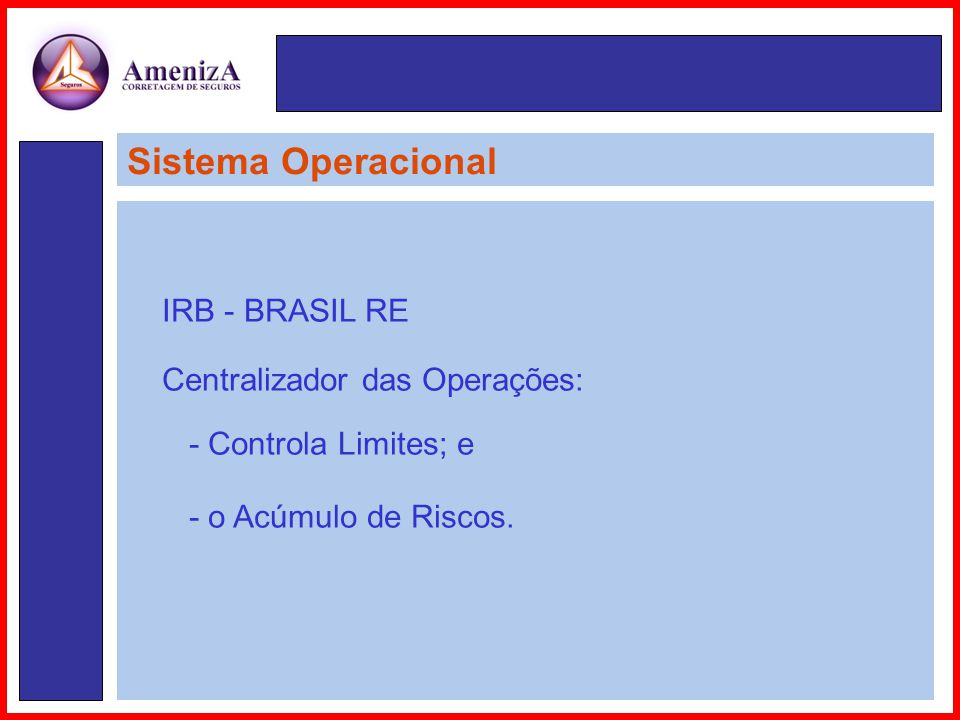 Sistema Operacional IRB - BRASIL RE Centralizador das Operações: