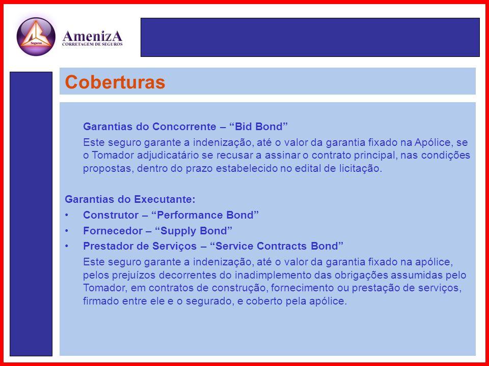 Coberturas Garantias do Concorrente – Bid Bond
