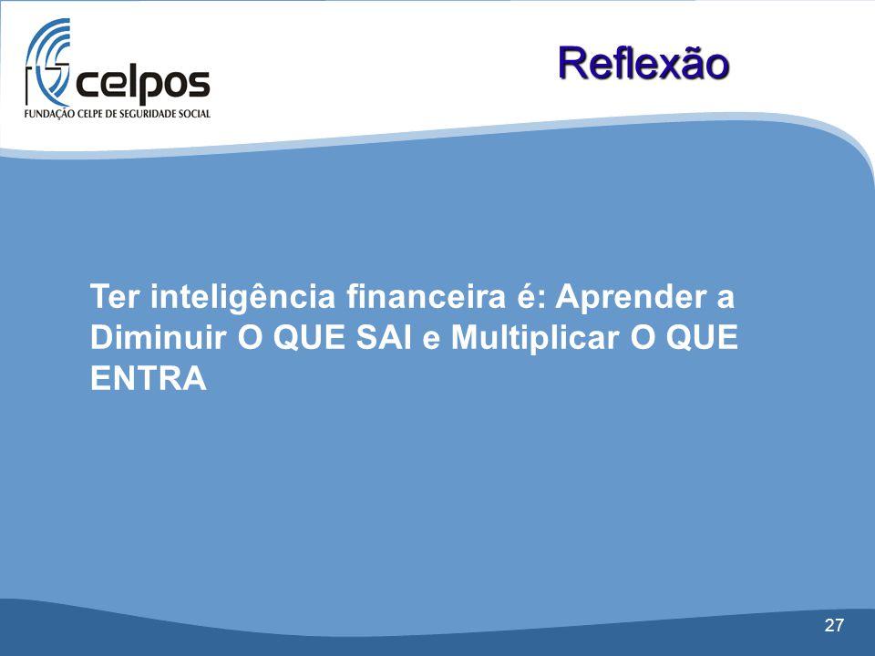Reflexão Ter inteligência financeira é: Aprender a Diminuir O QUE SAI e Multiplicar O QUE ENTRA