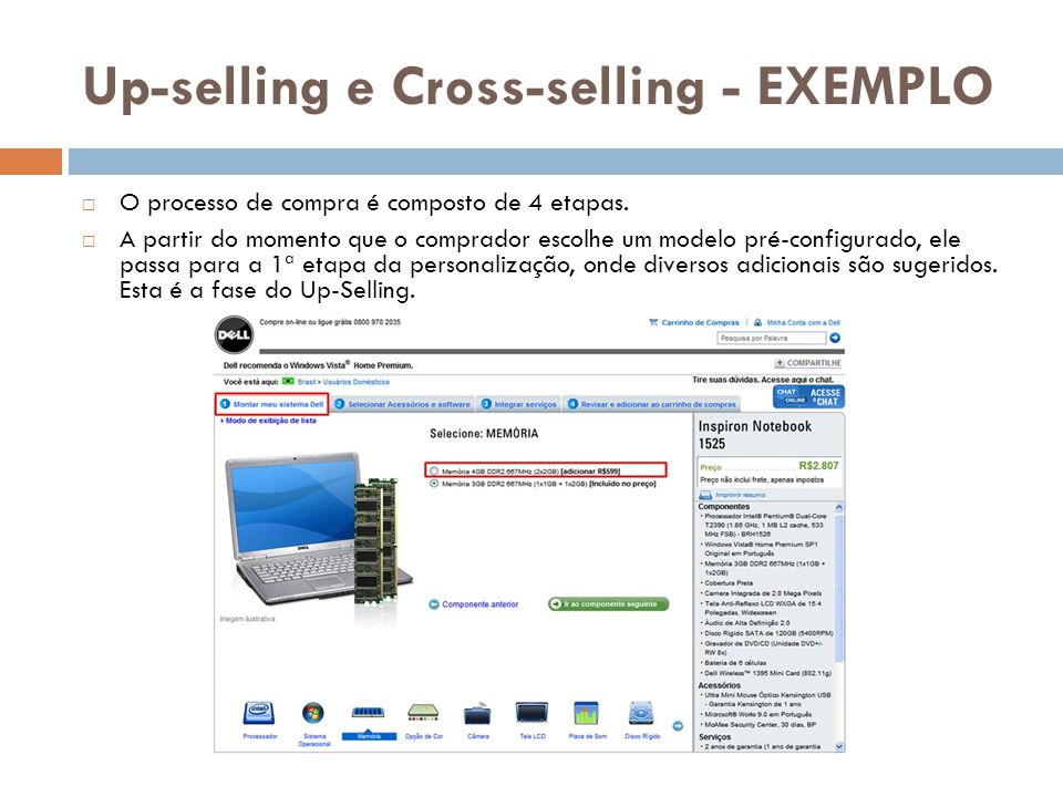 Up-selling e Cross-selling - EXEMPLO