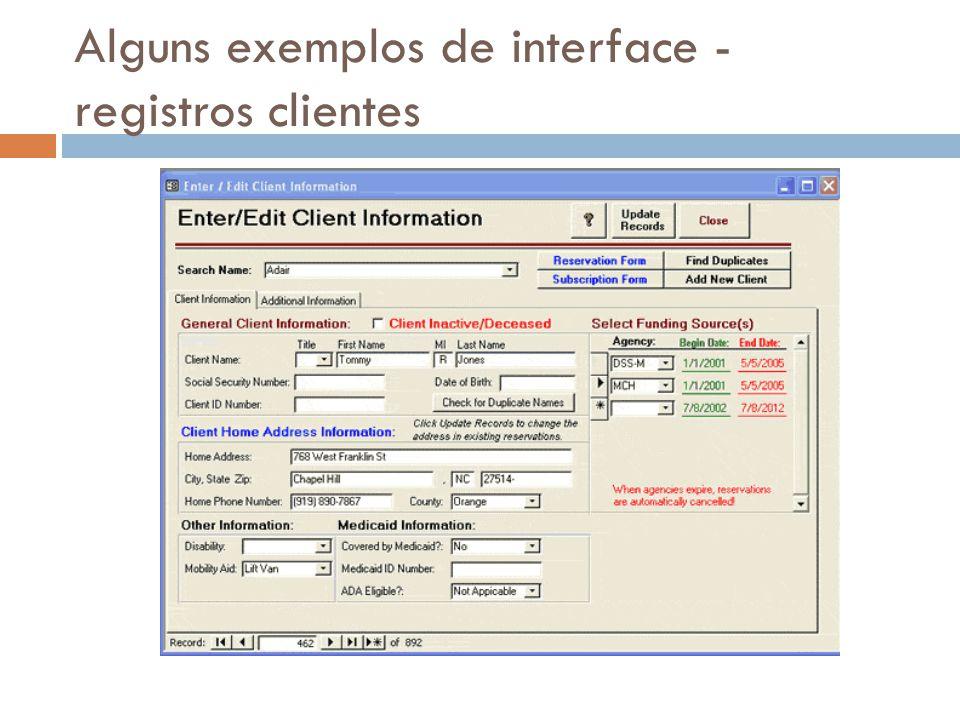Alguns exemplos de interface - registros clientes